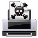 gtk,print,error,crossbones,poison,skull,warning,alert,wrong,printer,exclamation