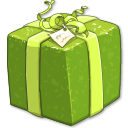 shiny,green,present,gift