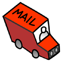 little,red,mail,truck,envelop,message,email,letter,transport,automobile,transportation,vehicle