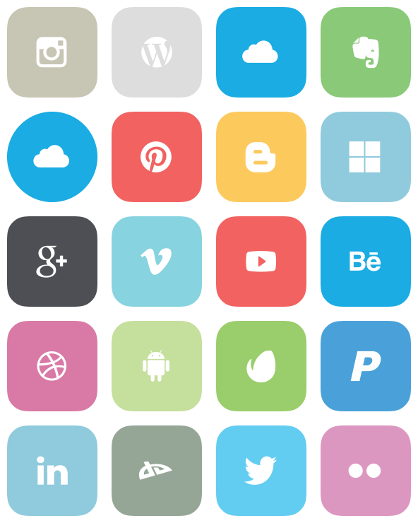 Flat Social Icons - 26 Free Icons, Icon Search Engine