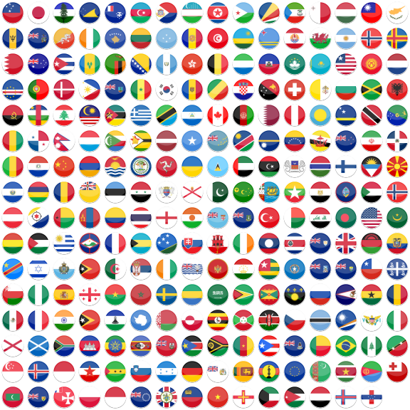 Flat Round World Flag Icon Set