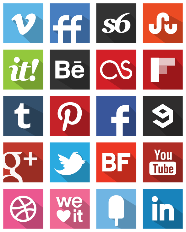 Social Media Logos Flat Shadow Style Original Colour