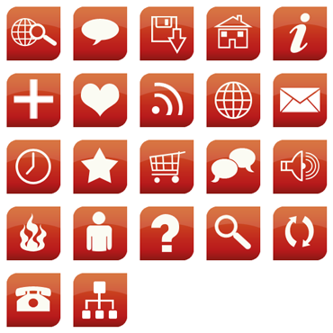 Glossy Red Web Icon Pack by RJDesignz