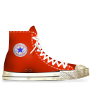 converse,red,dirty